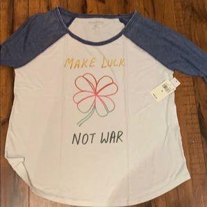Lucky brand make love not war baseball tee xl